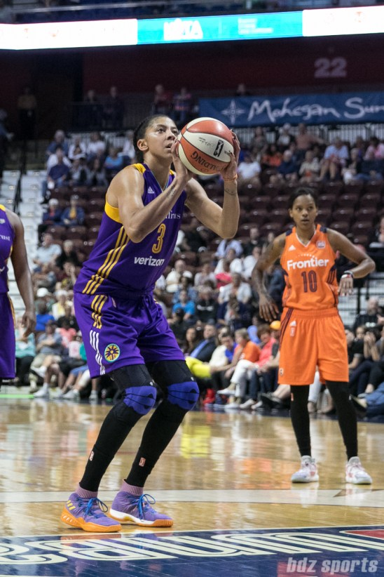 Los Angeles Sparks forward Candace Parker (3) takes a foul shot.