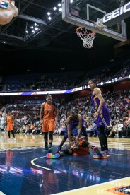 Los Angeles Sparks forwards Nneka Ogwumike (30) and Candace Parker (3) look to see what call the referee made.