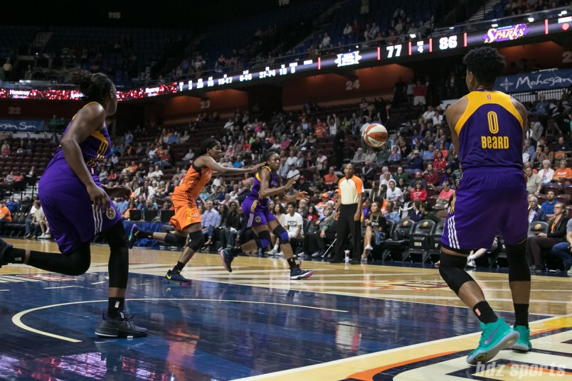 Los Angeles Sparks guard Alana Beard (0) makes an inbound pass to teammate Nneka Ogwumike (30).