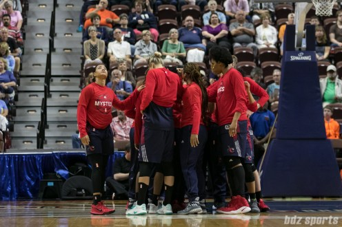 The Washington Mystics huddle prior to the start of the game.