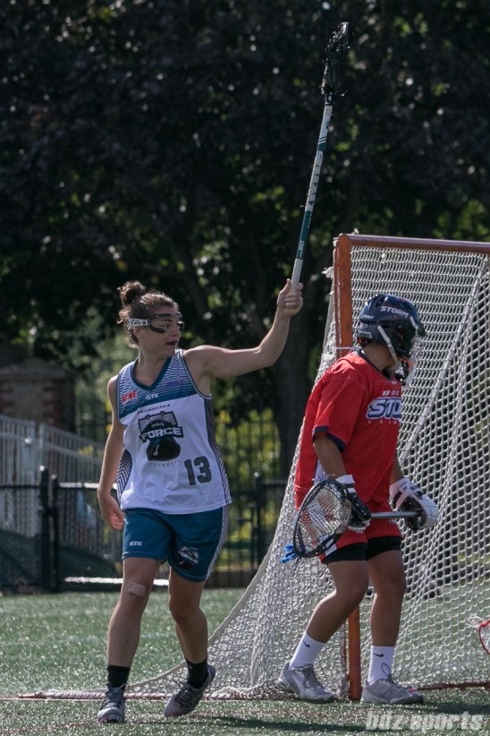 Philadelphia Force attacker Becky Lynch (13) celebrates her goal.