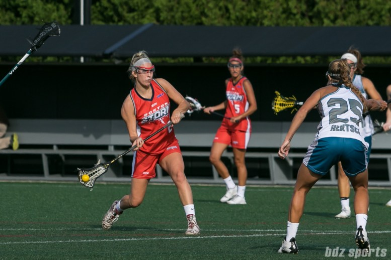 Boston Storm attacker Kate Weeks (24) takes a shot on goal.