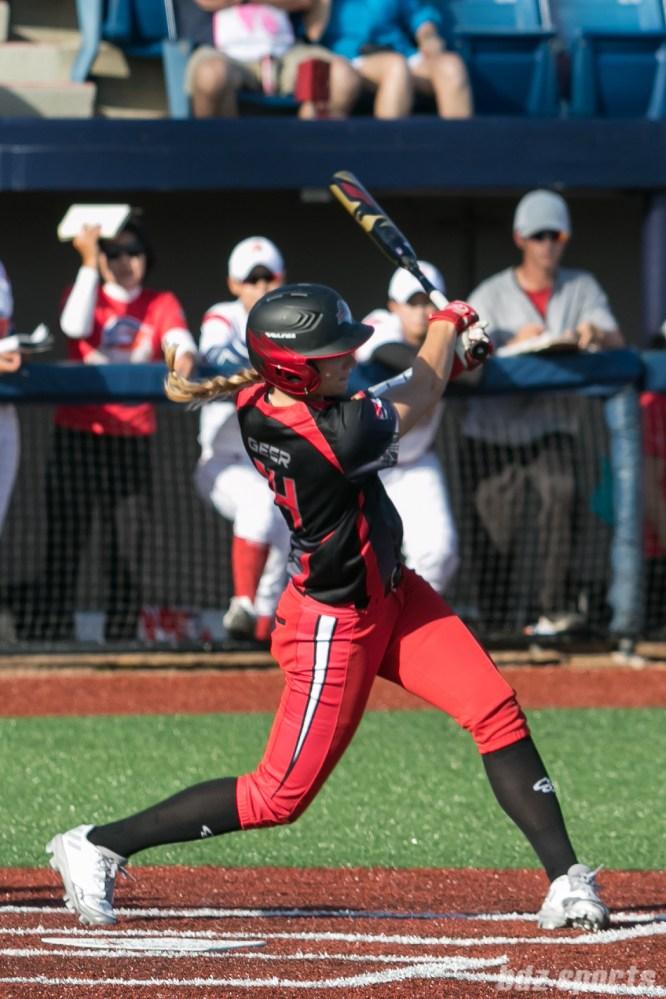 Akron Racers outfielder Megan Geer (14)
