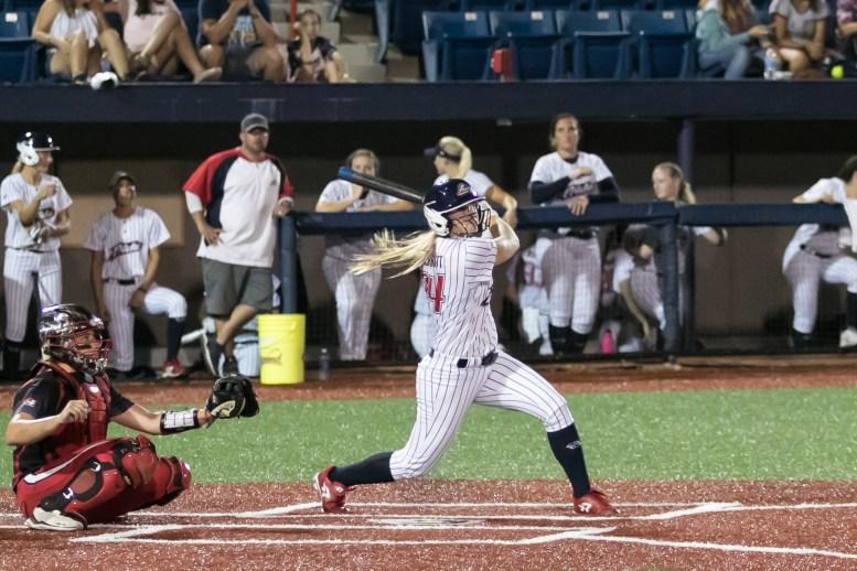 USSSA Pride outfielder Kirsti Merritt (24) at bat.