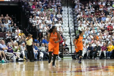 Connecticut Sun forward Shekinna Stricklen (40) gives a fist pump after making her shot.