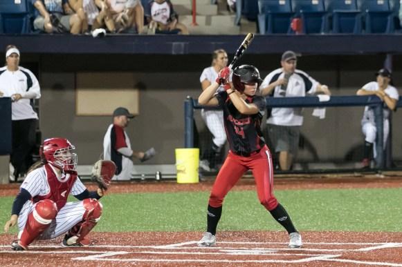 Akron Racers outfielder Megan Geer (14) at bat.