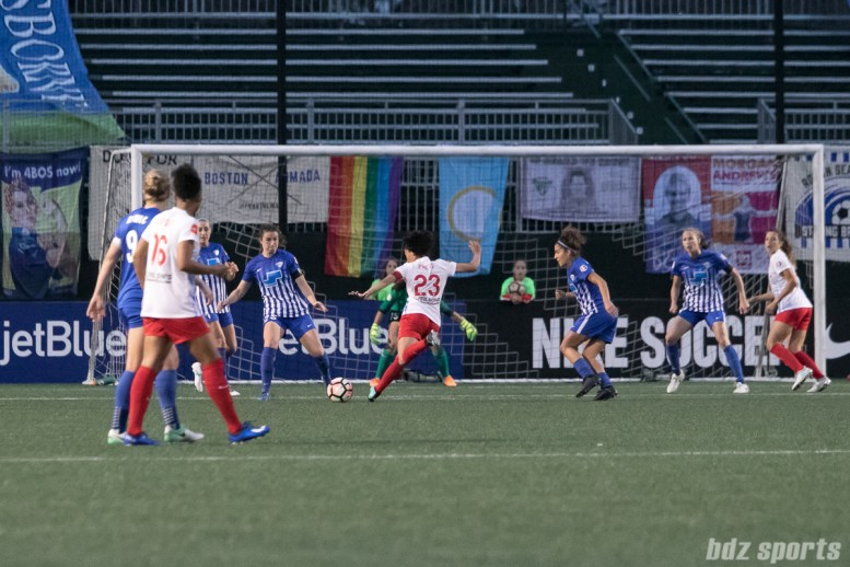 Chicago Red Stars forward Christen Press (23) takes a shot on goal.
