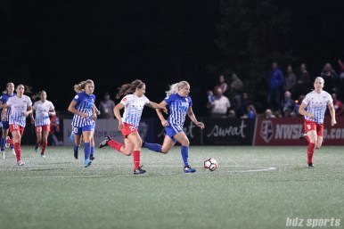 Boston Breakers forward Adriana Leon (19) dribbles the ball up the field.
