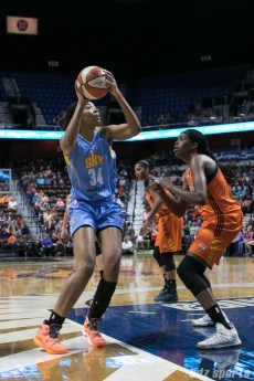 Chicago Sky center Imani Boyette (34) looks to take a shot.