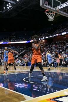 Connecticut Sun center Jonquel Jones (35) comes up with the rebound.