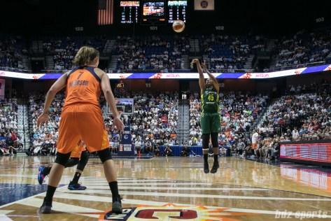 Seattle Storm guard Noelle Quinn (45) takes a jump shot.