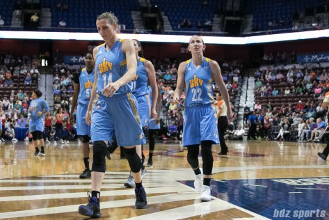 The Chicago Sky walk to the locker room at the end of the half. The Sun led 38-32 at the end of the second quarter.