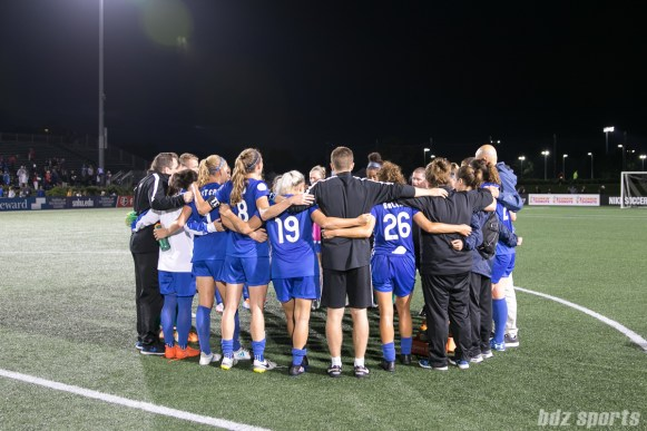 The Boston Breakers huddle after the game. The Breakers tied the Red Stars 0-0.