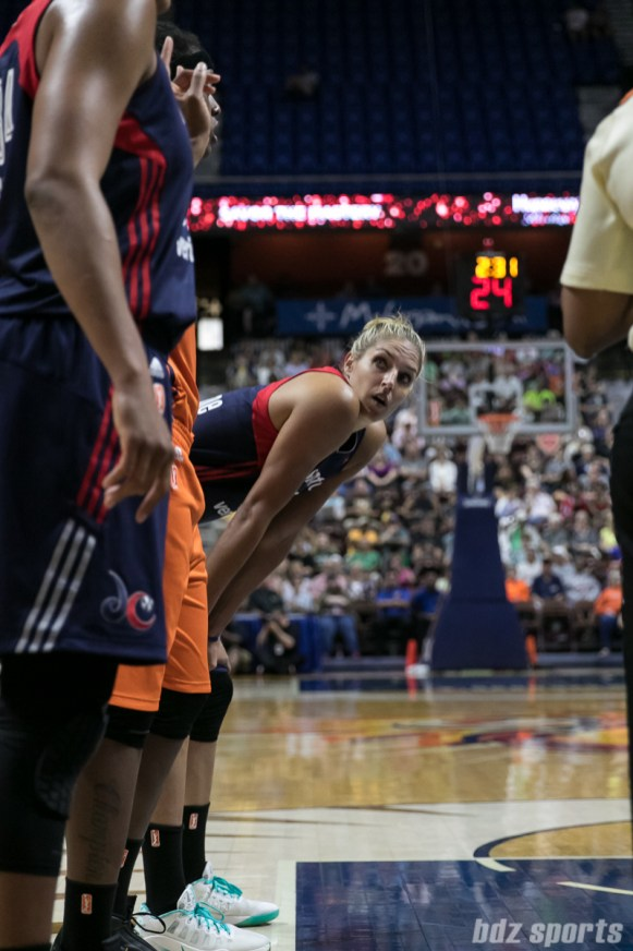 Washington Mystics forward Elena Delle Donne (11) looks on during a free throw.