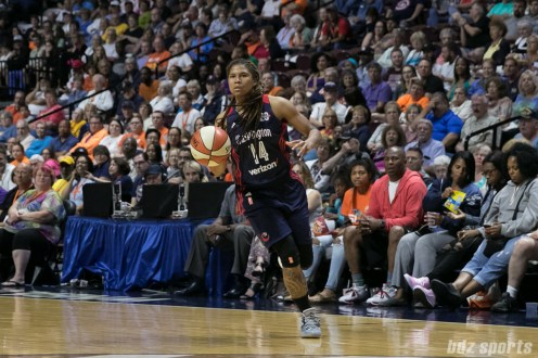 Washington Mystics guard Tierra Ruffin-Pratt (14) dribbles the ball down the court.