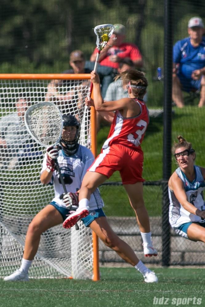 Boston Storm Kayla O'Connor (3) takes a shot on goal.