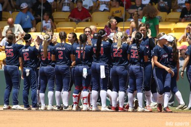 The 2017 NPF regular season champions, the USSSA Pride, high five before the start of the game
