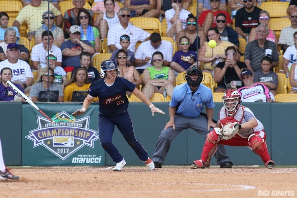USSSA Pride outfielder Megan Wiggins (25) puts the ball into play