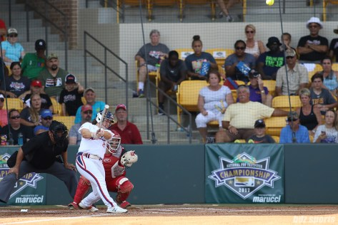 USSSA Pride outfielder Megan Wiggins (25) looks on as the ball heads out of the park for a solo home run