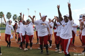 The Scrap Yard Dawgs cheer to fans after winning the 2017 NPF Cowles Cup