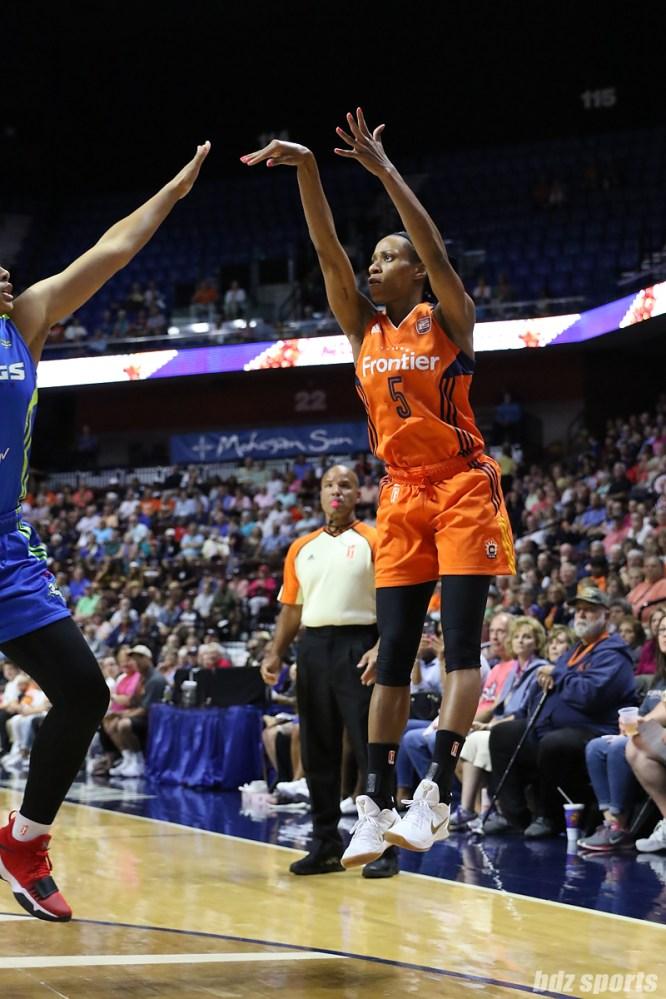 Connecticut Sun guard Jasmine Thomas (5) follows through on a shot