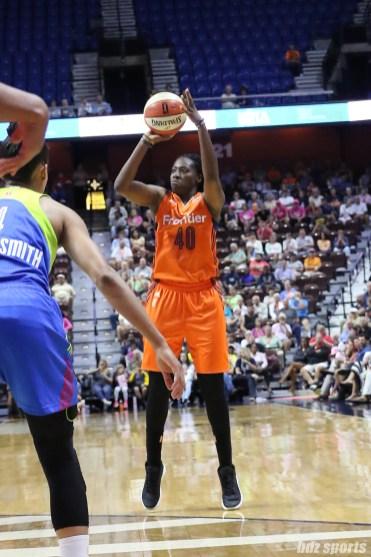 Connecticut Sun forward Shekinna Stricklen (40) takes a 3-point shot