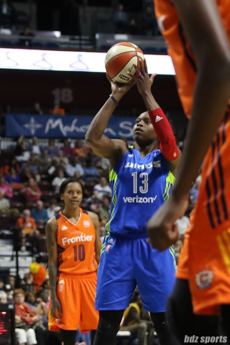 Dallas Wings forward Karima Christmas-Kelly (13) takes a foul shot
