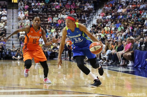 Dallas Wings guard Aerial Powers (23) drives to the basket