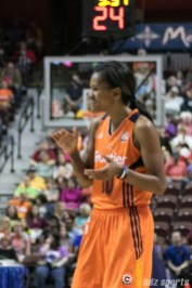 Connecticut Sun guard Courtney Williams (10) is all smiles after the Sun come back from a 13-point deficit. Williams would go on to score a career high 27 points as the Sun defeat the Storm 84-71.