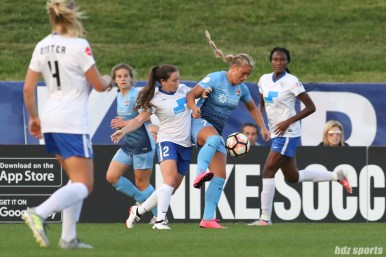 Boston Breakers defender Allysha Chapman (2) challenges Sky Blue FC midfielder Madison Tiernan (73) for the ball