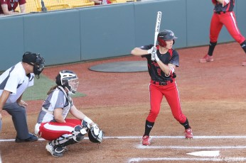 Akron Racers outfielder Shellie Robinson (3) at bat