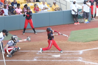 Akron Racers third baseman Kelley Montalvo (10) at bat