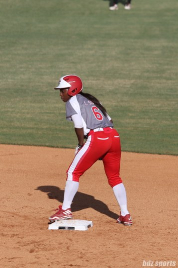 Scrap Yard Dawgs outfielder Kiki Stokes (6) looks on from second base