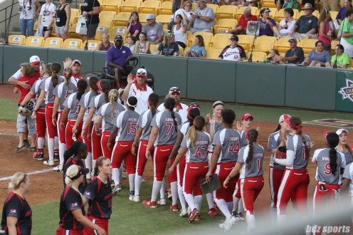 The Scrap Yard Dawgs high five each other after defeating the Akron Racers 4 - 3 to advance to the NPF Championships.