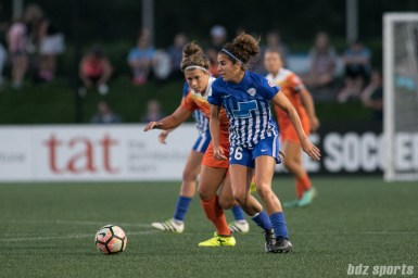 Boston Breakers midfielder Angela Salem (26) controls the ball in the midfield