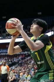 Seattle Storm forward Ramu Tokashiki (7) prepares to take a shot.