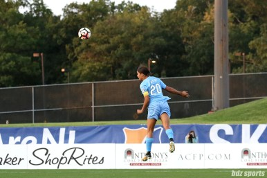 Sky Blue FC forward Sam Kerr (20) heads on the ball towards goal