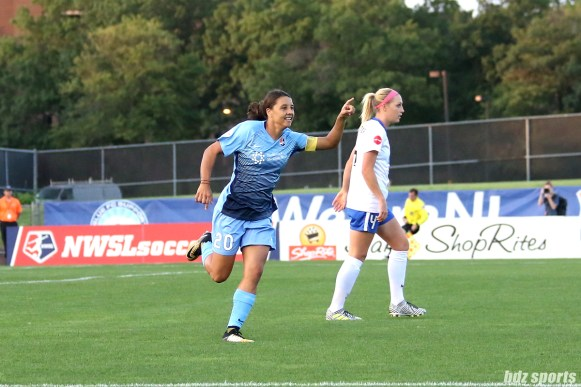 Sky Blue FC forward Sam Kerr (20) celebrates her 16th goal of the season, tying the single-season goal record held by Kim Little