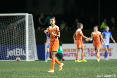 Houston Dash defender Poliana (2) celebrates her team's second goal of the game.