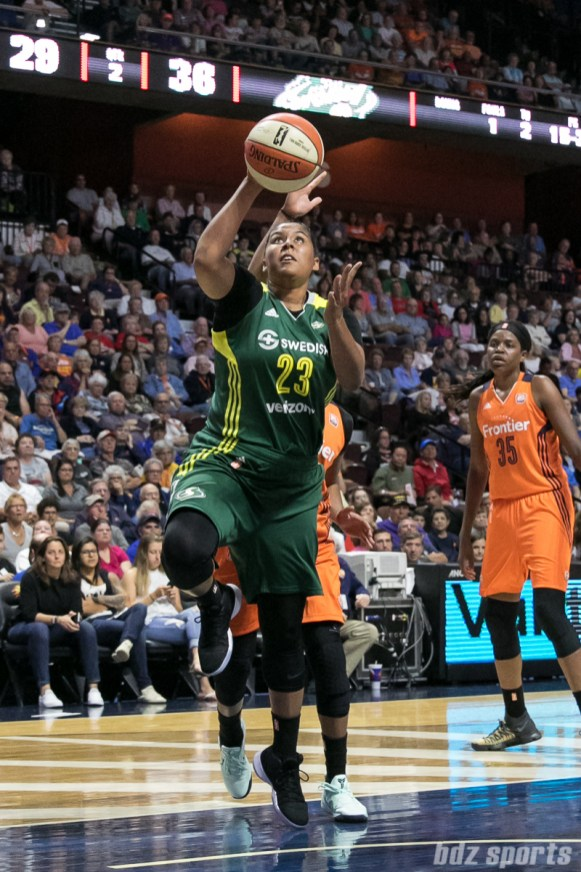 Seattle Storm forward Kaleena Mosqueda-Lewis (23) drives to the basket for a layup.
