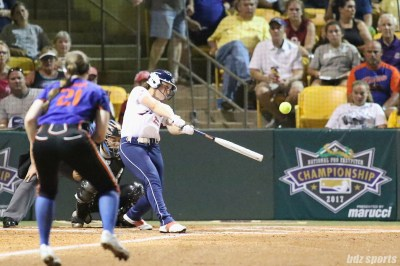 USSSA Pride outfielder Megan Wiggins (25) make contact with the ball