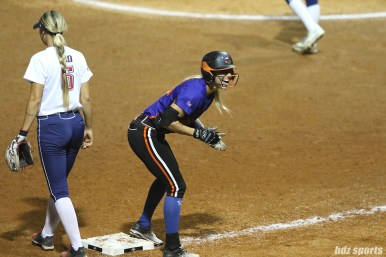 Chicago Bandits outfielder Brenna Moss (55) hits a triple for an RBI