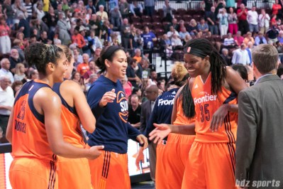 Connecticut Sun center Jonquel Jones (35) is all smiles after the Sun come back to defeat the Seattle Storm 84-71.