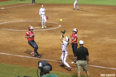 USSSA Pride first baseman Hallie Wilson (22) catches the pop out