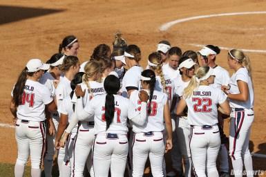 The USSSA Pride huddle in between innings