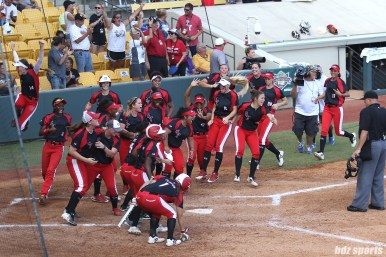 The Scrap Yard Dawgs celebrate after teammate Kasey Cooper (not pictured) hit a two run homerun in the top of the 6th inning
