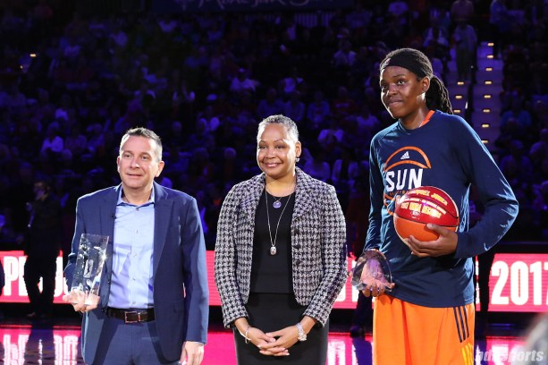 Connecticut Sun head coach Curt Miller and player Jonquel Jones are recognized with Coach of the Year and 2017 Improved Player honors, respectively, prior to the start of the game