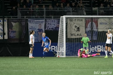 Boston Breakers forward Natasha Dowie (9) reacts after scoring the first goal of the game
