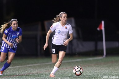 Sky Blue FC forward Kelley O'Hara (19) brings the ball downfield