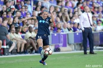 North Carolina Courage forward Ashley Hatch (12) settles the ball